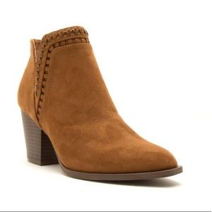 Shoes - Cognac Perforated Suede Booties